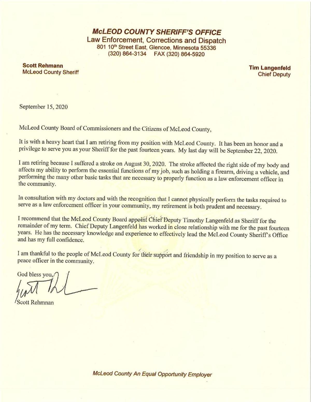 Sheriff Scott Rehmann retirement letter