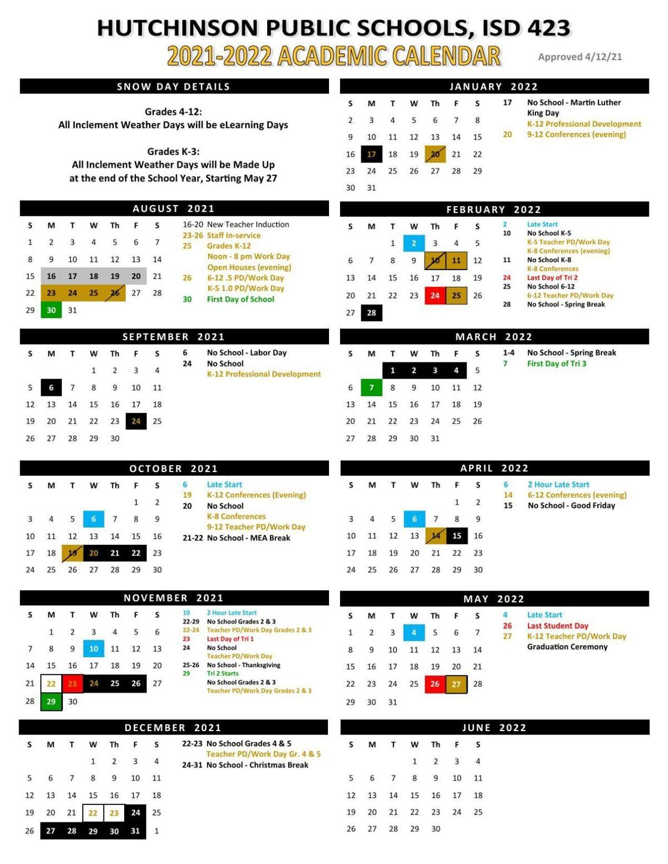 2021-22 Hutchinson Public Schools calendar