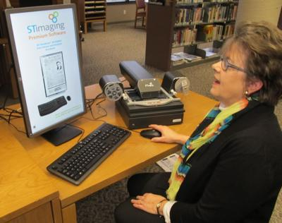 Pam Dille with new digital scanner
