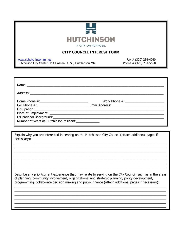 City Council interest form