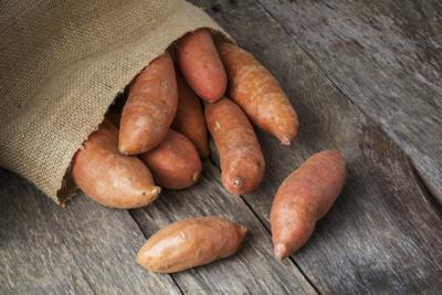 Sweet Potatoes Spilling From Burlap Bag