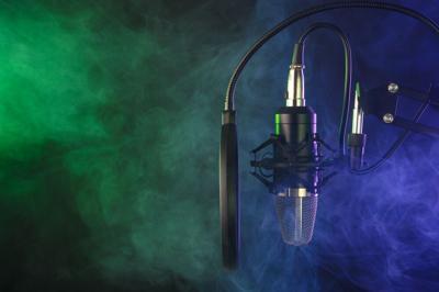 Mic, microphone, audio, booth, smoke, vape, recording, media