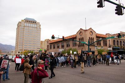 Protesters in downtown Colorado Springs