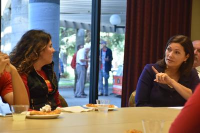 Vice President of Student Affairs, Dr. Suzanne Espinoza talking with Fatima Serrato in PACE student meeting on Wednesday, Oct 28.