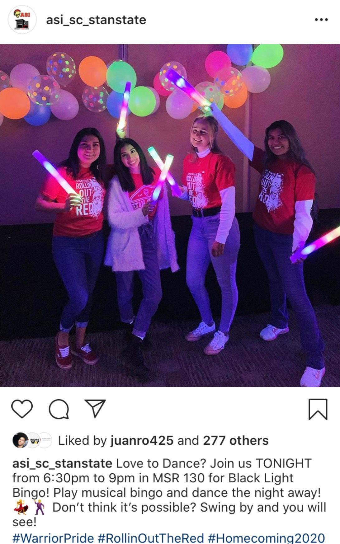 Members of ASI at Black Light Bingo. Courtesy of ASI instagram. @asi_sc_stanstate
