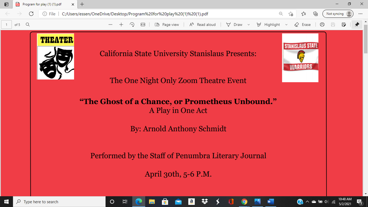 Penumbra Spring 2021 Zoom  Charity Theatre Event