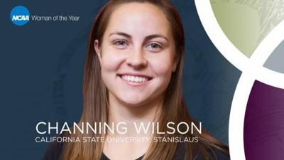 Wilson representing Stan State's Track and Field