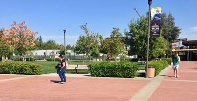 Students in the Stan State quad (courtesy of Joel Ramirez)