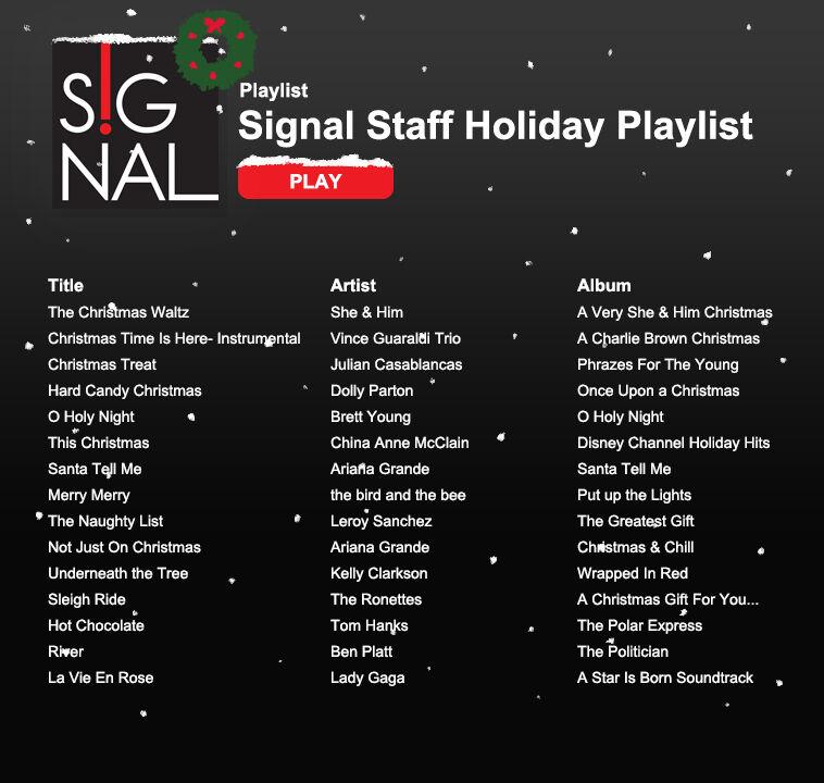 Signal Staff Holiday Playlist