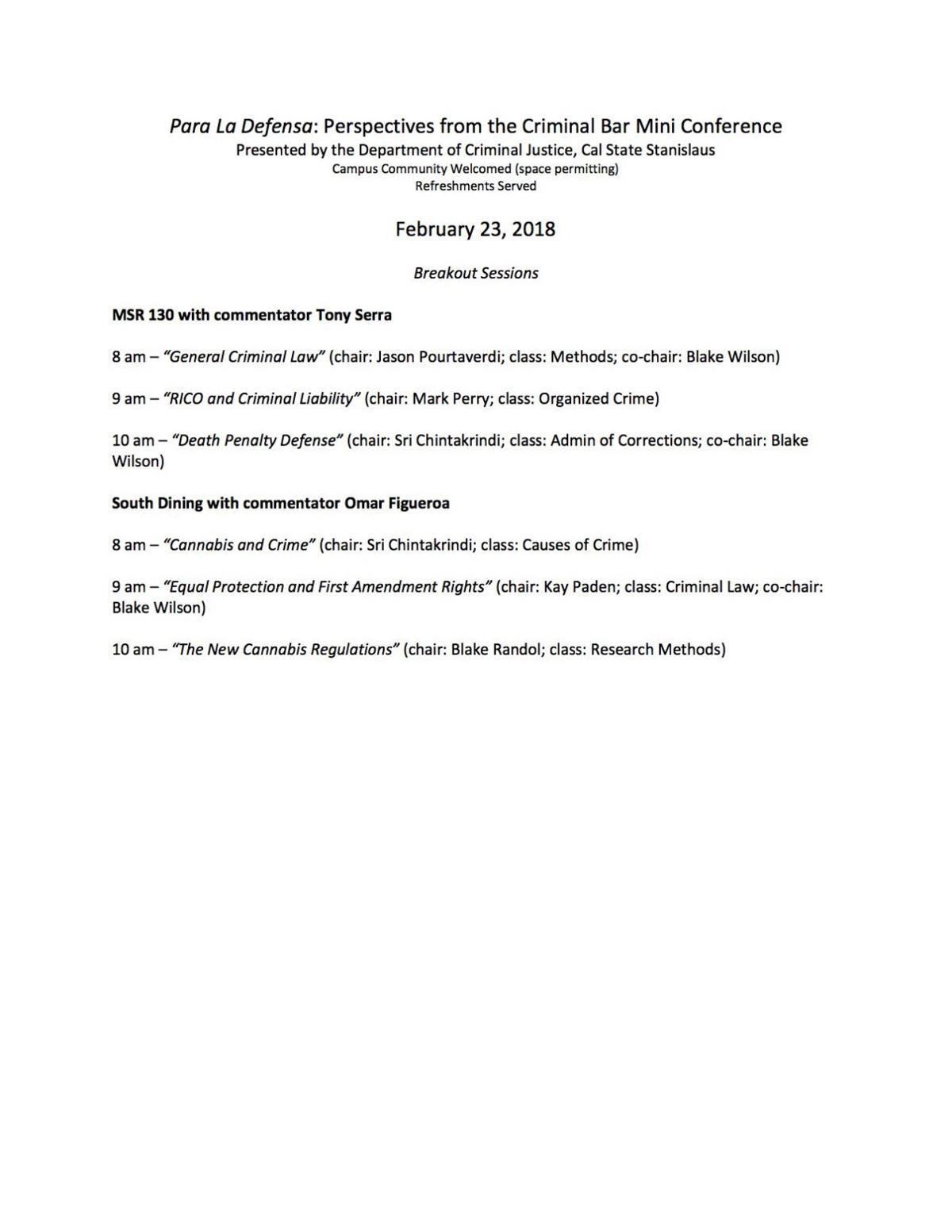 Mini Conferences for Para la Defensa