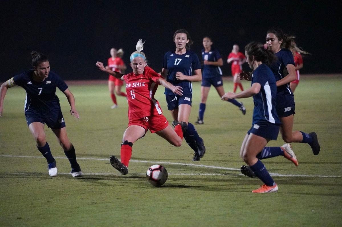 Forward Sadie Ortiz (senior, Kinesiology) successfully attempting an hat-trick scoring an third goal.