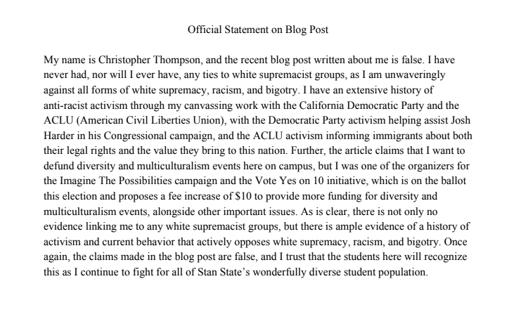 Statement from Christopher Thompson