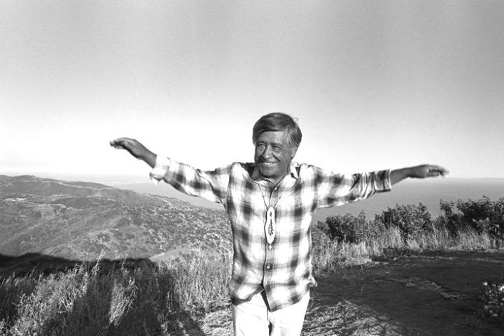 Cesar Chavez with an eagle pose