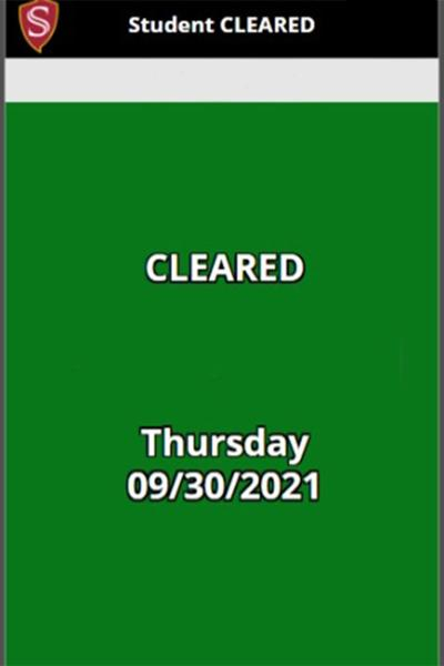 Daily Self Check- Cleared Status