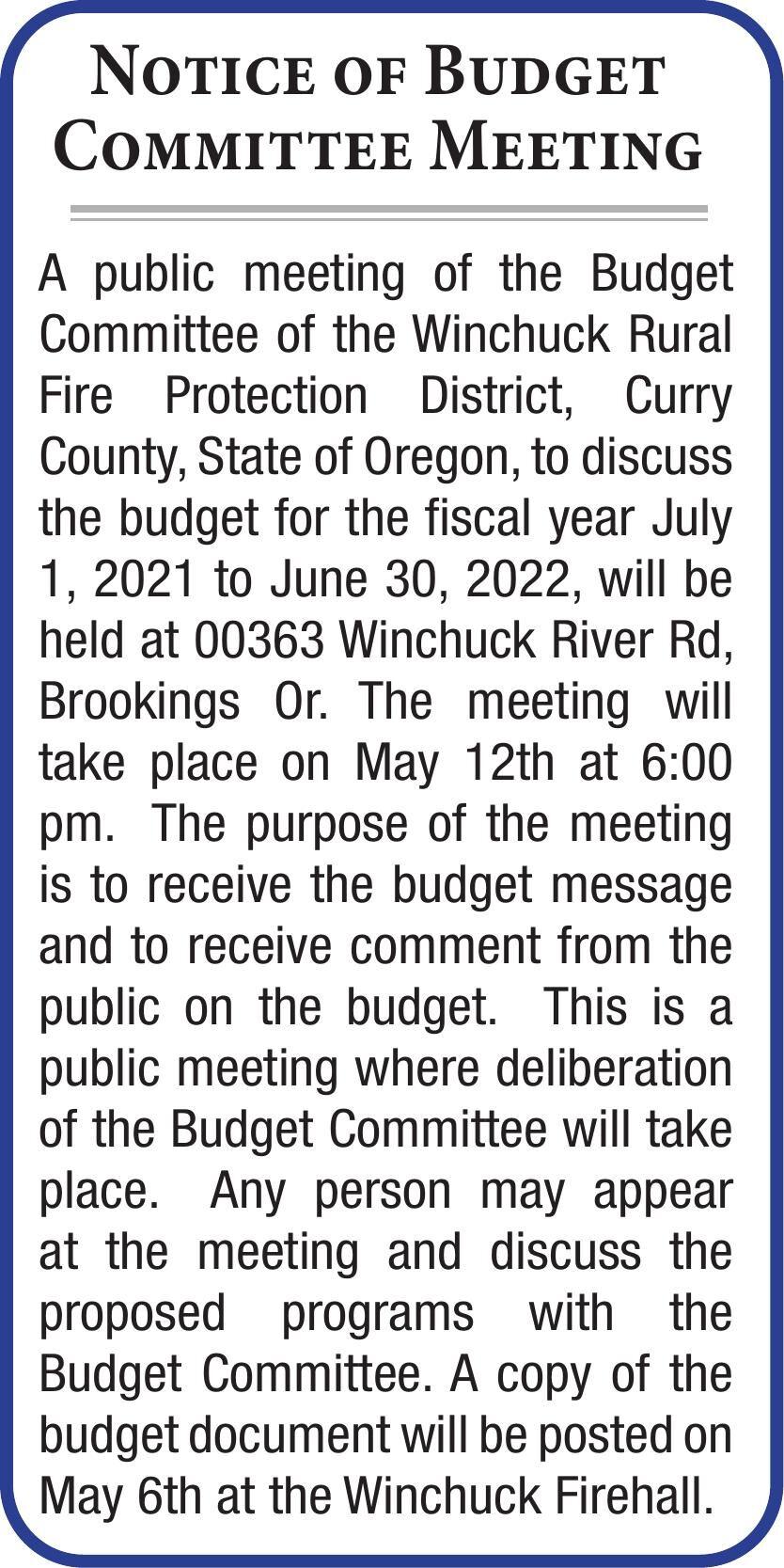 Notice of Budget