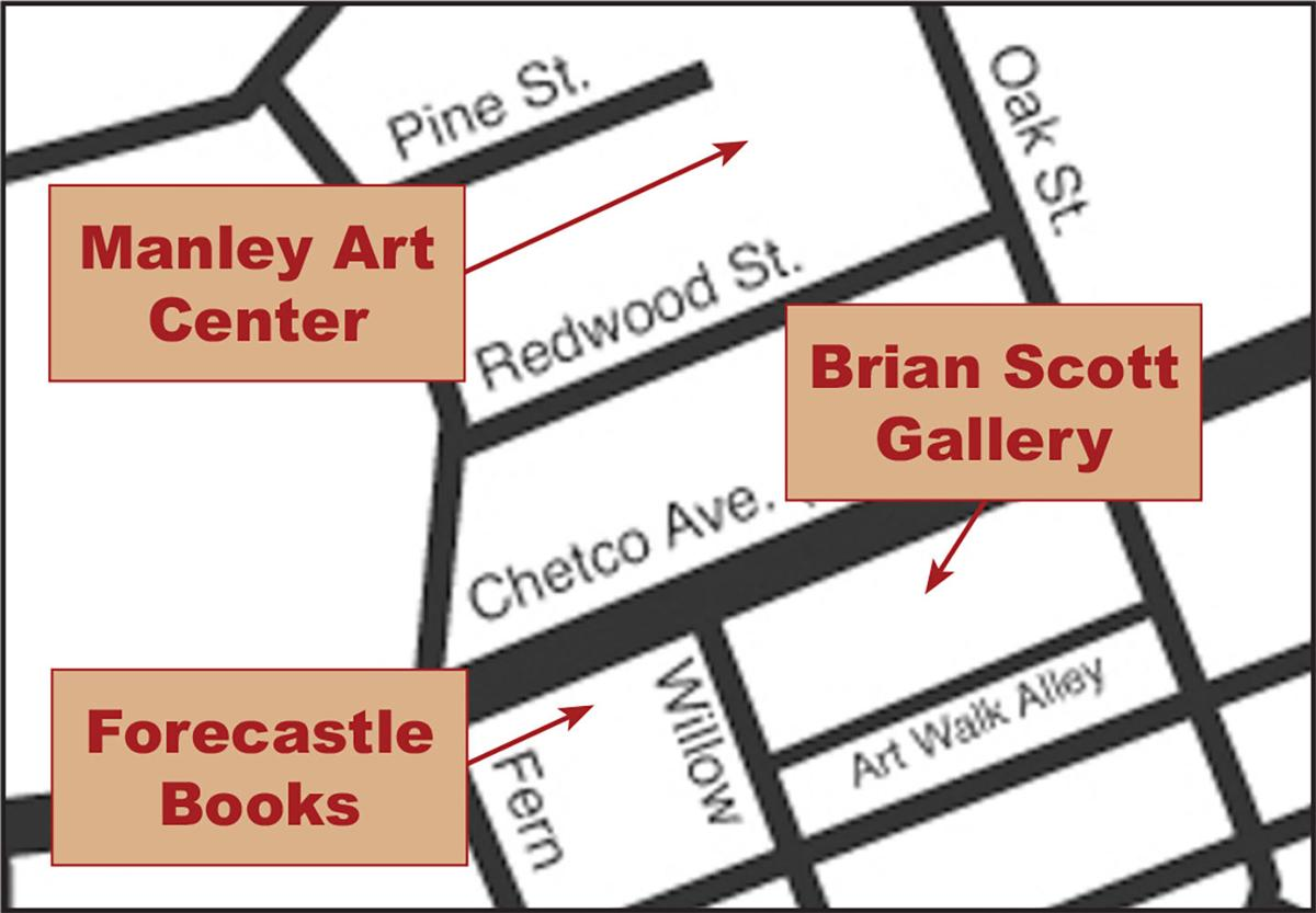 Walking map for the July 11 Downtown Brookings Second Saturday Art Walk.