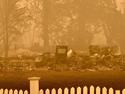 Oregon wildfires - burned home