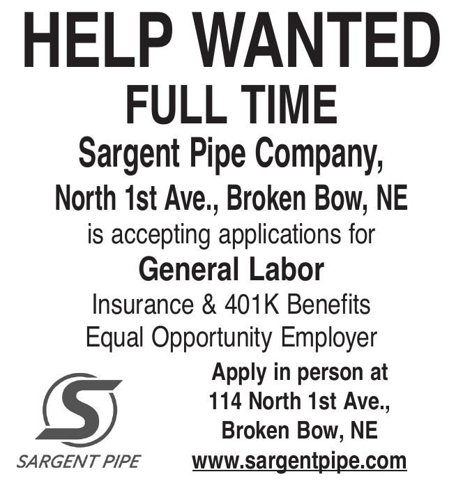 Help Wanted - Sargent Pipe