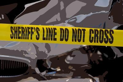 Car crash, gray, Sheriff's tape Do Not Cross