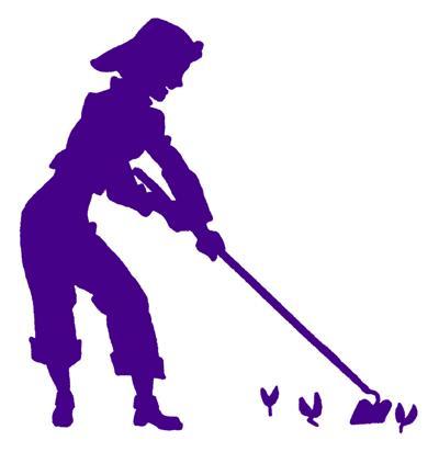 Purple woman hoeing Mona Weatherly column Jan 2021