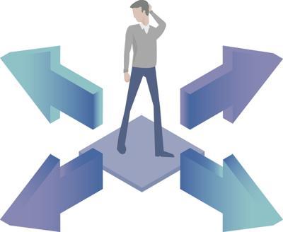 Decision arrows man question duped