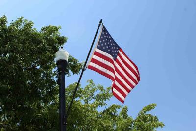 U.S. flag American June 9 2021 Broken Bow sky