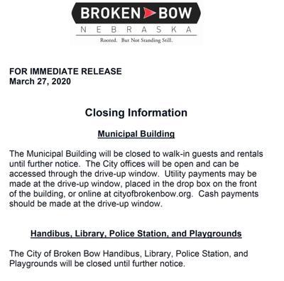 City of Broken Bow Closing Information March 27 2020