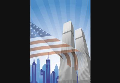 911 September 11 2001 Twin Towers American Flag