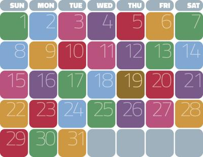 Calendar page colorful days