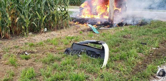 Fire engulfs vehicle after crash