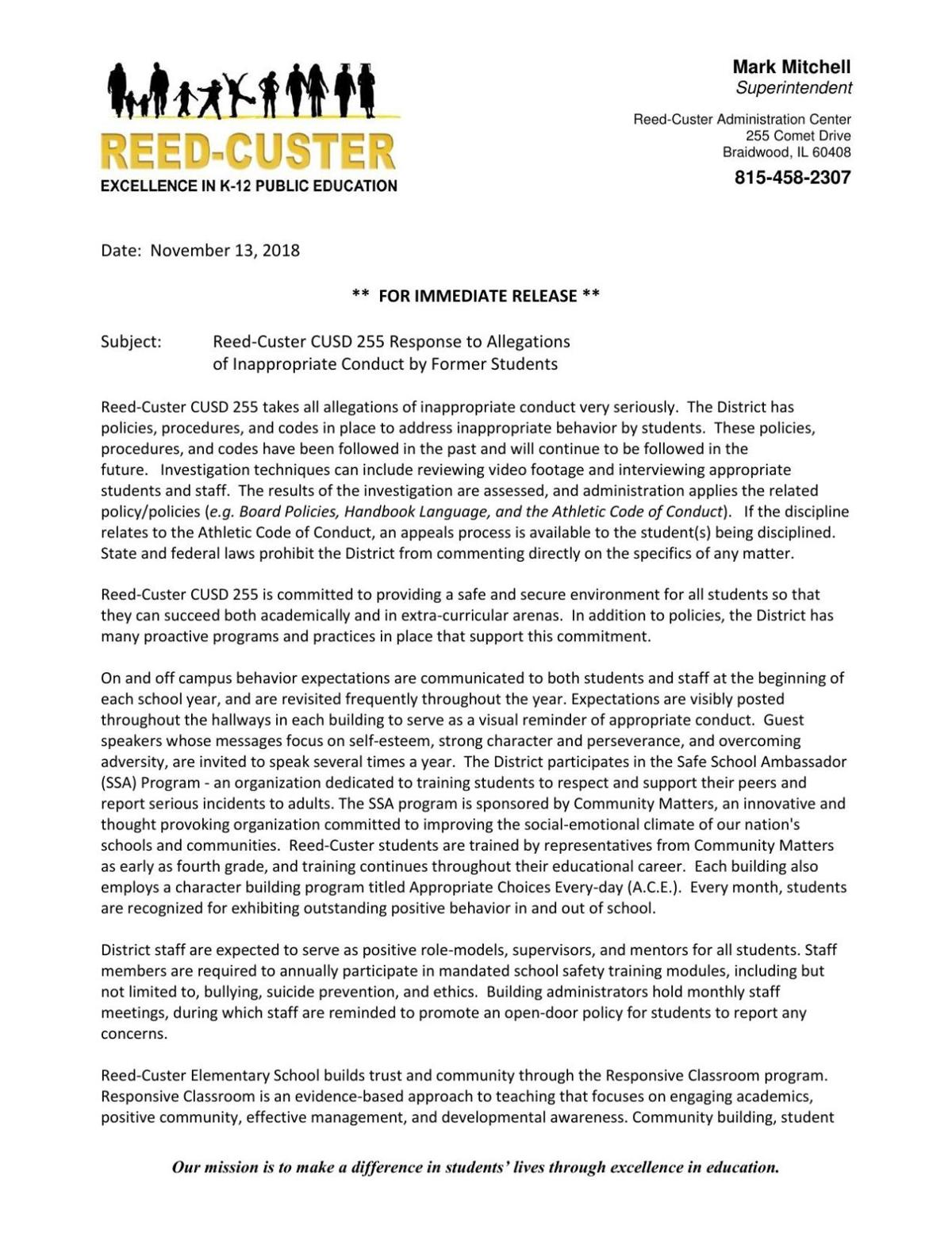 Reed-Custer statement on July 2017 incident