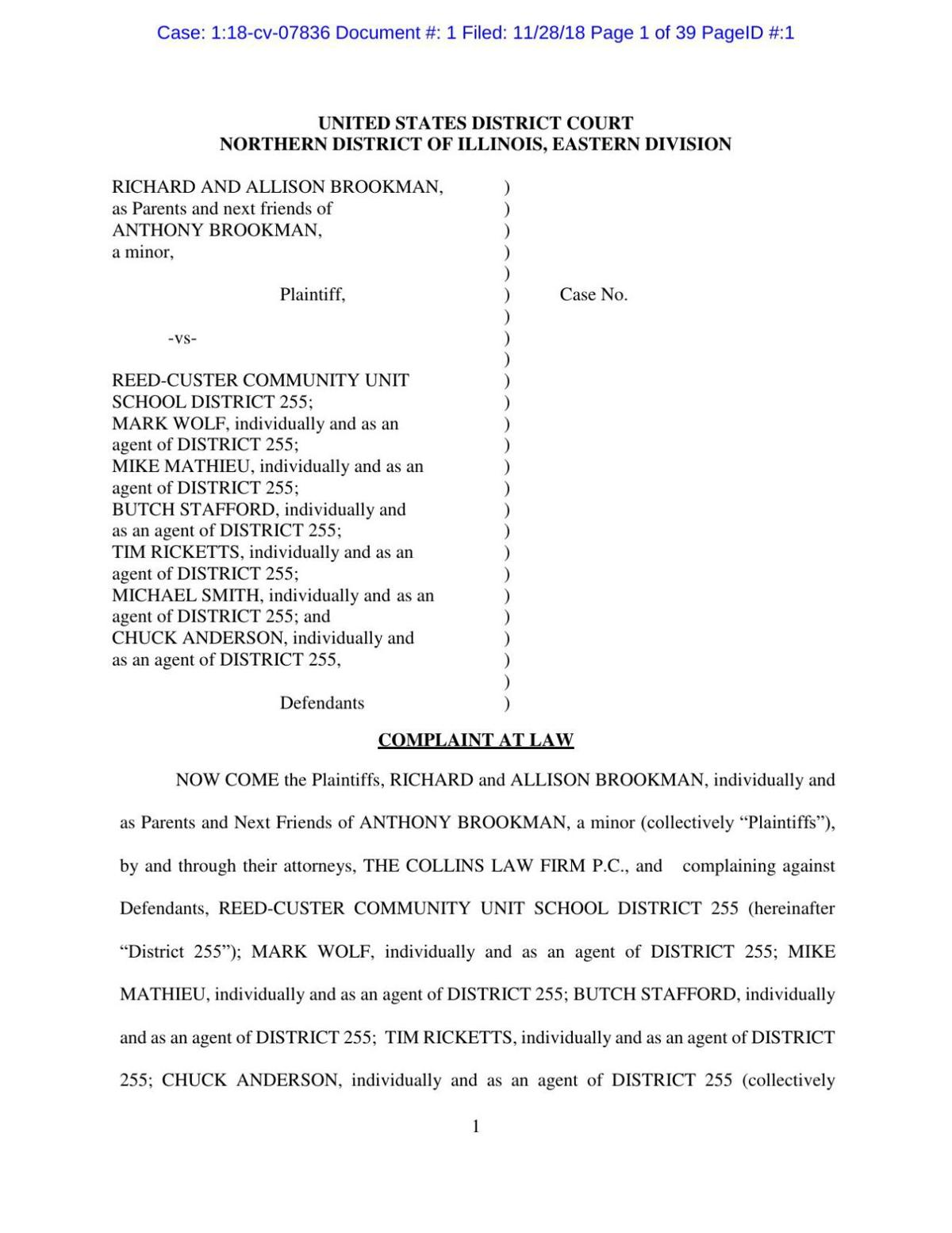 Parents of former Reed-Custer student file lawsuit against