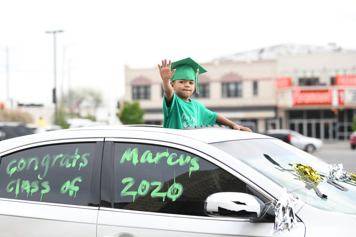 Preschoolers parade to Pomp and Circumstance