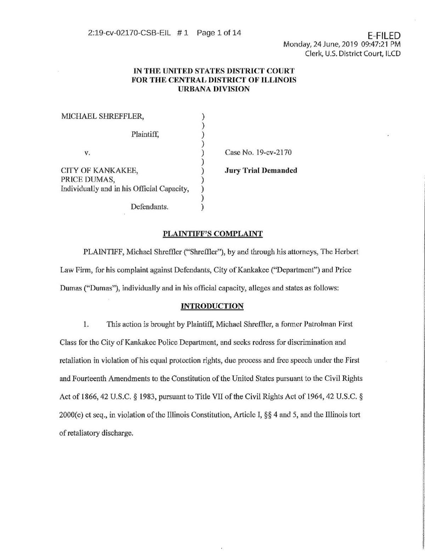 Shreffler Lawsuit
