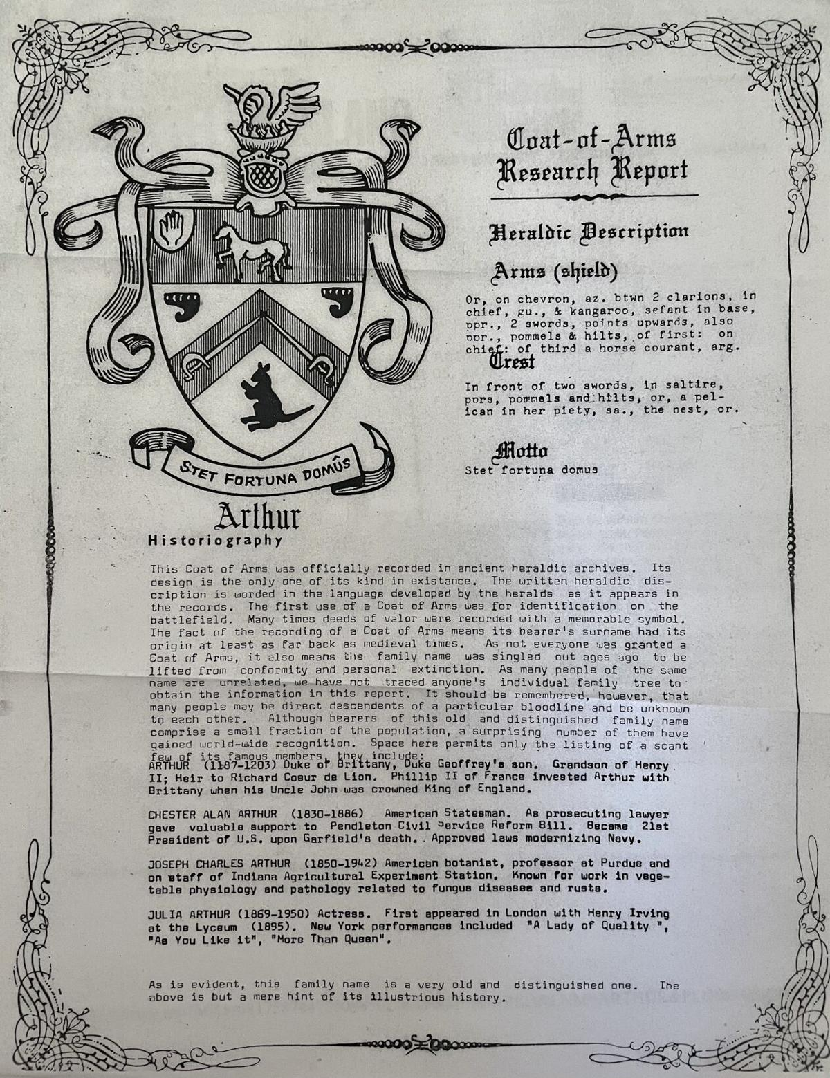 Arthur fam - Coat of Arms