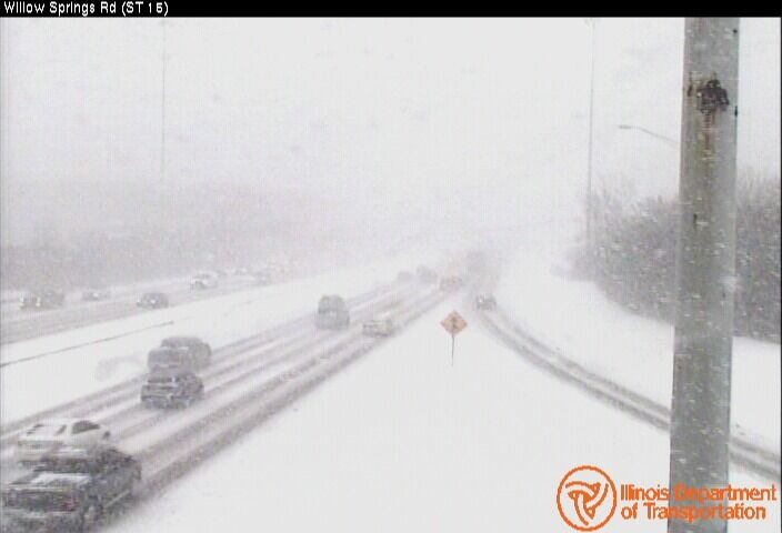 Highways flooded with snow on Monday