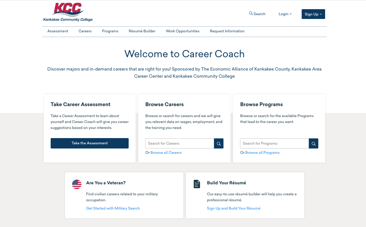 KCC Career Coach tool