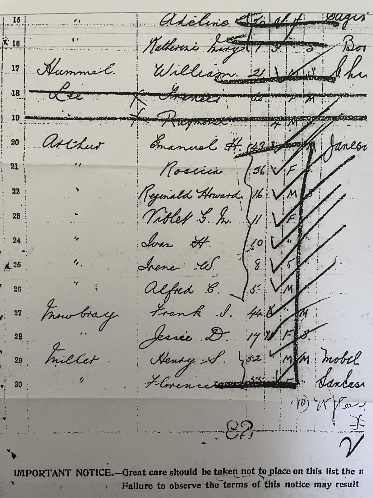 Arthur family Ellis Island paper