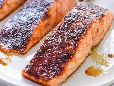 Salmon with Ginger Bourbon Glaze