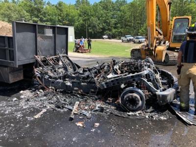 garbage truck destroyed