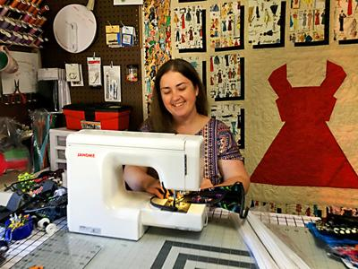 Faith Long sewing facemasks