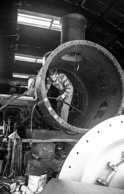 "Love of locomotives Ryder Dopp, 16, is part of a volunteer team restoring vintage ""No. 21 Baldwin"""