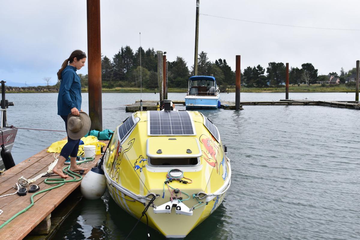 Lia Ditton prepares her boat