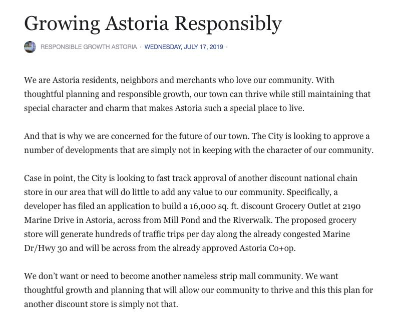 Screenshot from Responsible Growth Astoria