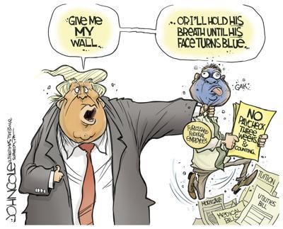 Editorial cartoon: Give me my wall