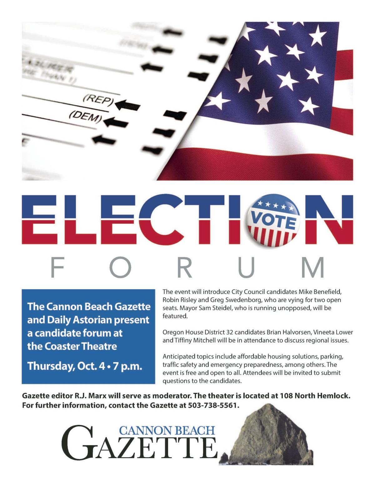 Candidate forum in Cannon Beach