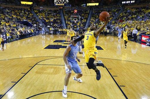No. 7 Michigan rolls past No. 11 North Carolina 84-67