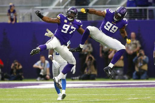 NFL sack leader Danielle Hunter  just lets it rip  for Vikes. Minnesota  Vikings defensive end Danielle Hunter (99) celebrates ... 9f56f552e