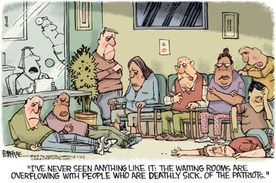 Editorial cartoon: Sick of the Patriots