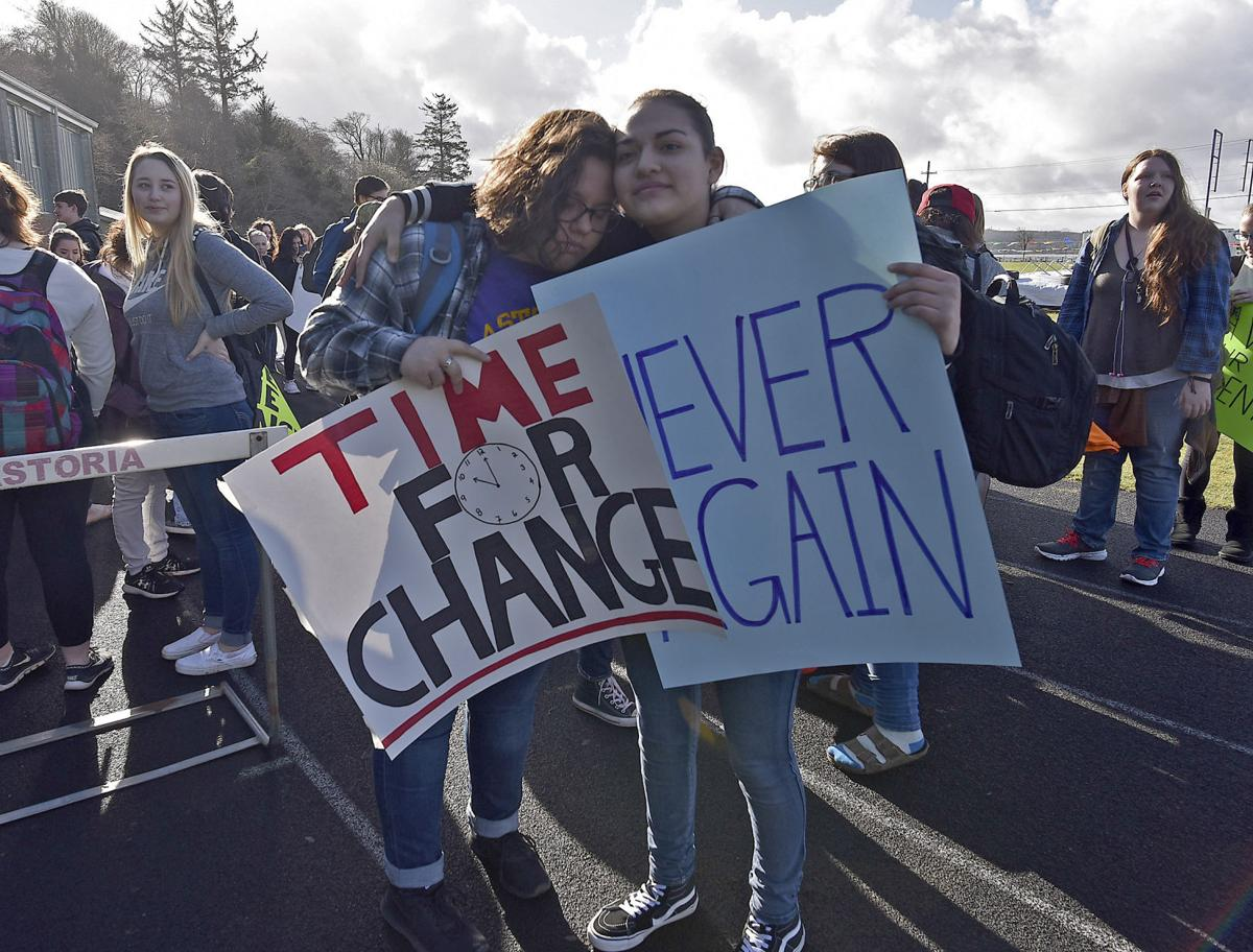 Hundreds of students in Astoria, Seaside walk out in protest of gun violence